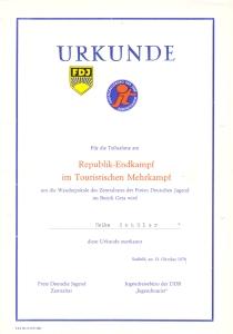 Urkunde DDR-Meisterschaft